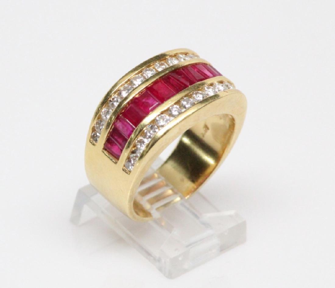 3.50ctw Ruby, 1.50ctw Diamond, & 18K YG 12mm Ring - 3
