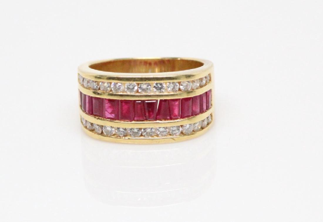 3.50ctw Ruby, 1.50ctw Diamond, & 18K YG 12mm Ring - 5