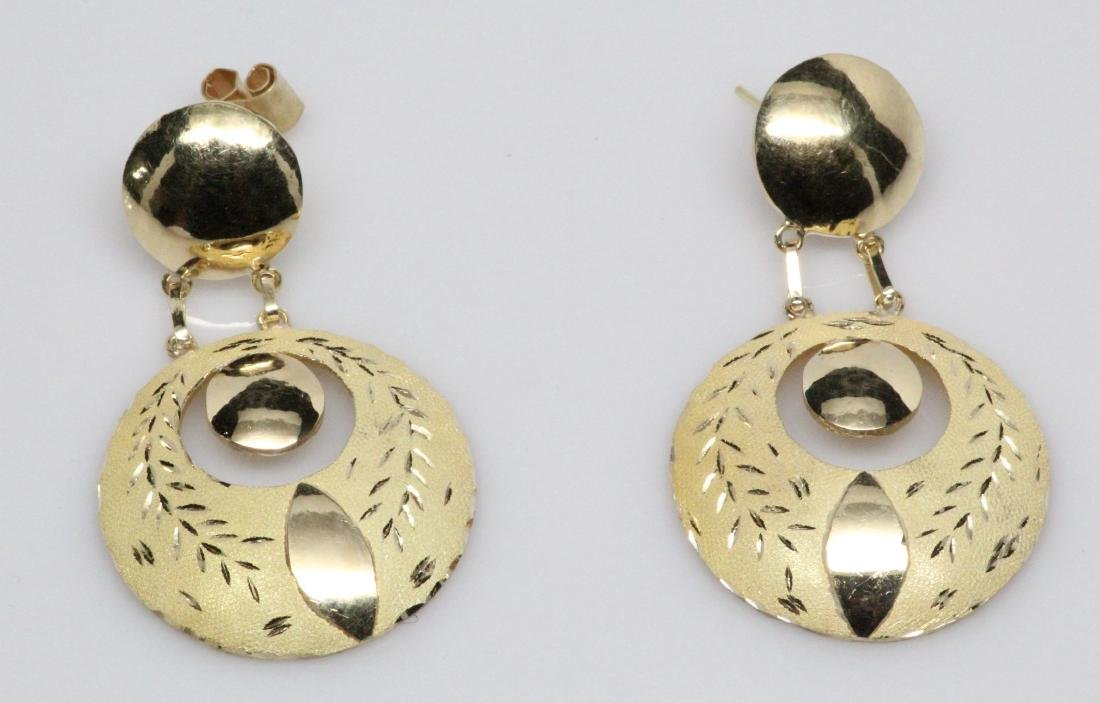 "18K Yellow Gold Suspended Disc 2"" Dangle Earrings"