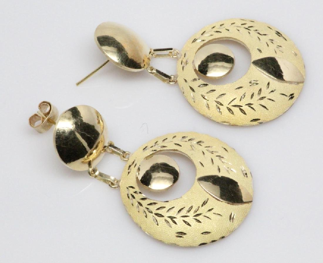 "18K Yellow Gold Suspended Disc 2"" Dangle Earrings - 2"