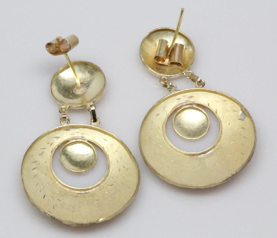 "18K Yellow Gold Suspended Disc 2"" Dangle Earrings - 3"