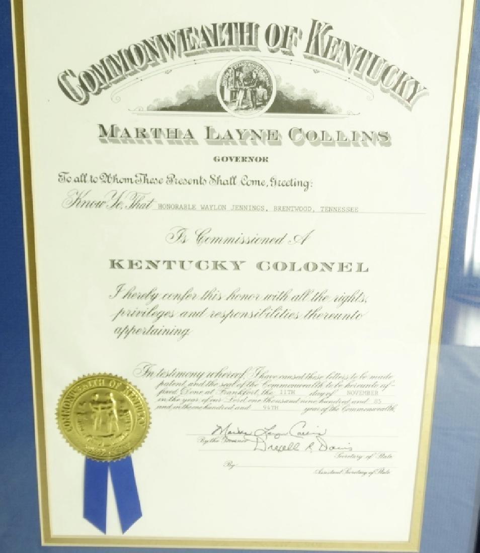 Waylon Jennings Presentation From Kentucky W/COA - 2