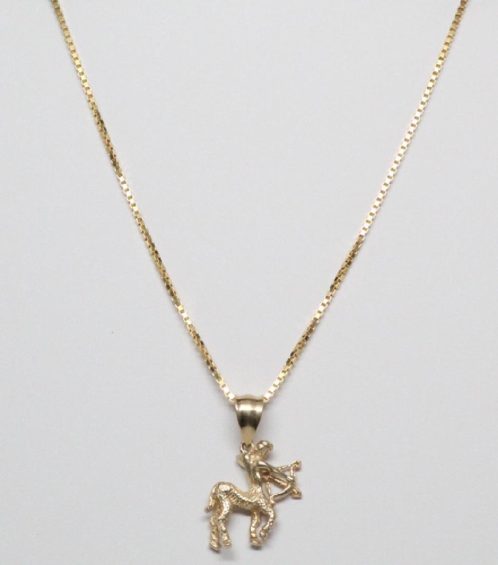 """14K Yellow Gold Sagittarius Pendant on 16"""" Chain"""