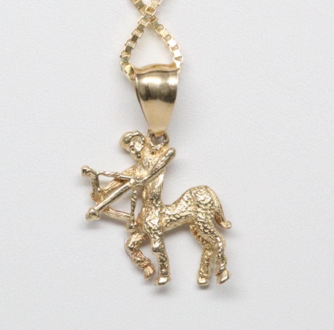 """14K Yellow Gold Sagittarius Pendant on 16"""" Chain - 3"""