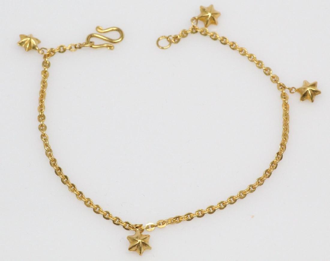 "22K Yellow Gold 7"" Bracelet W/5.5mm Star Charms"
