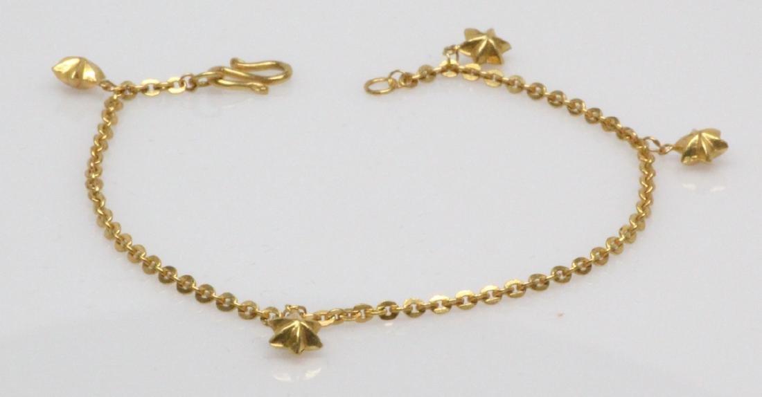 "22K Yellow Gold 7"" Bracelet W/5.5mm Star Charms - 2"
