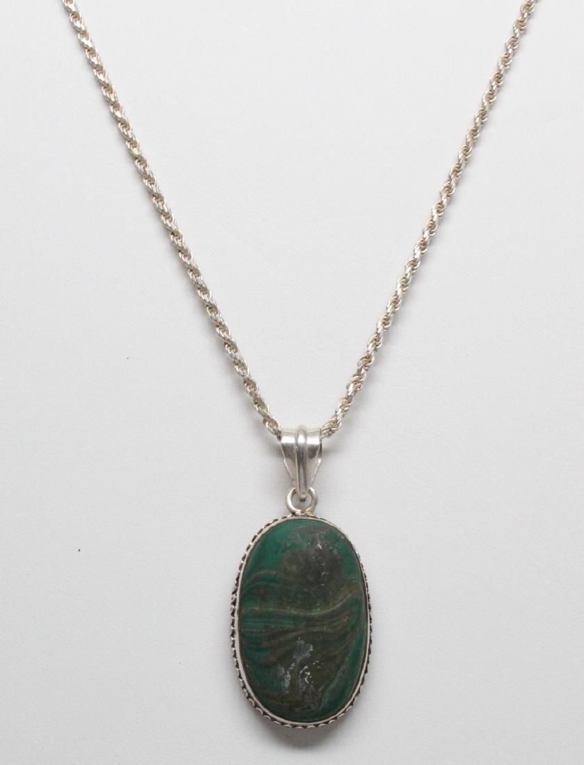 """32mm Malachite Pendant & 20"""" Sterl. Silver Chain"""