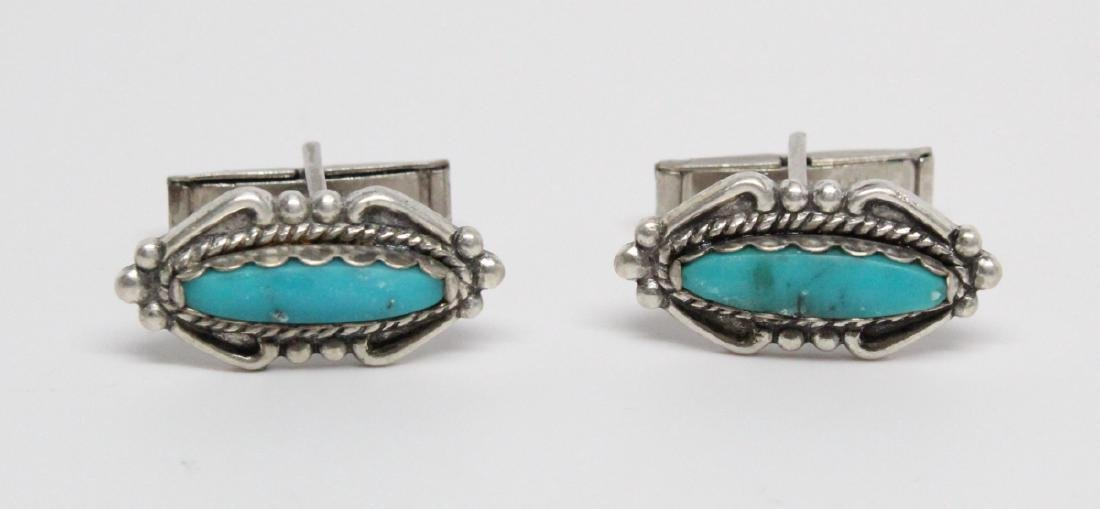 Native American Sterling & Turquoise Cufflinks