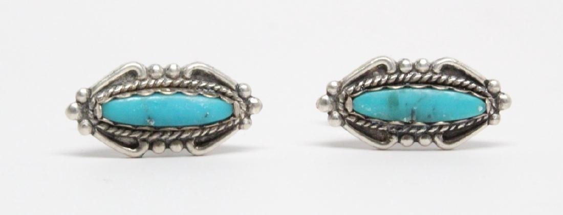 Native American Sterling & Turquoise Cufflinks - 2