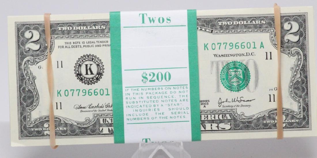 (100) $2 Bills in Mint Condition in Numeric Order