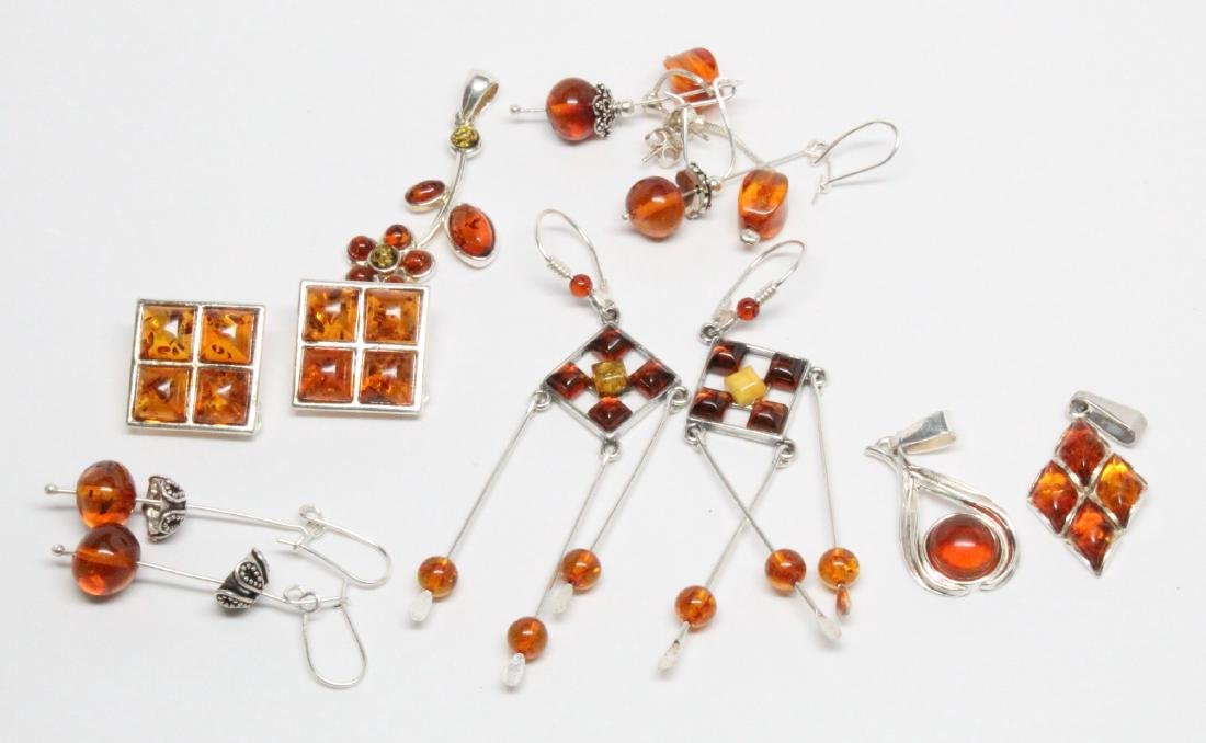 Lot of Baltic Amber & Sterling Silver Jewelry