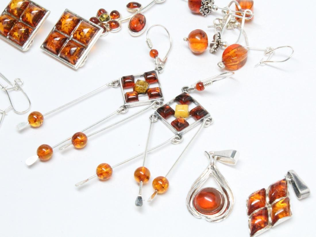 Lot of Baltic Amber & Sterling Silver Jewelry - 3