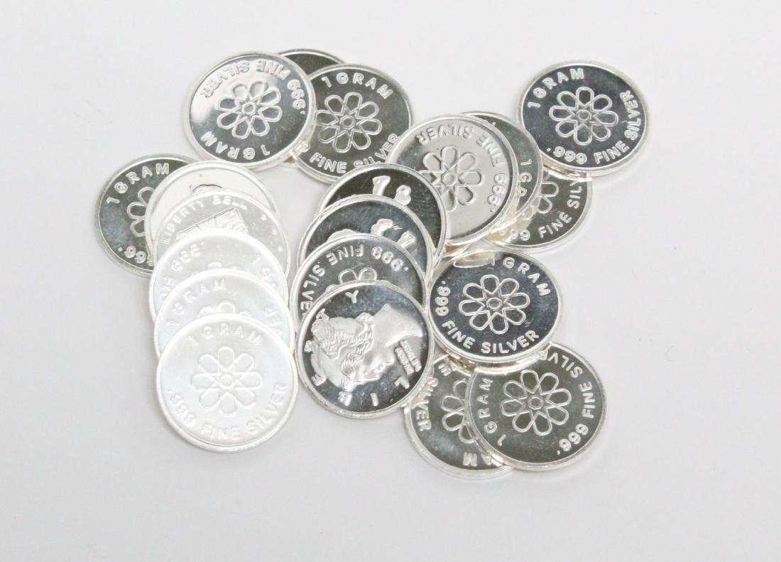 Lot of (21) 1 Gram .999 Fine Silver Art Rounds
