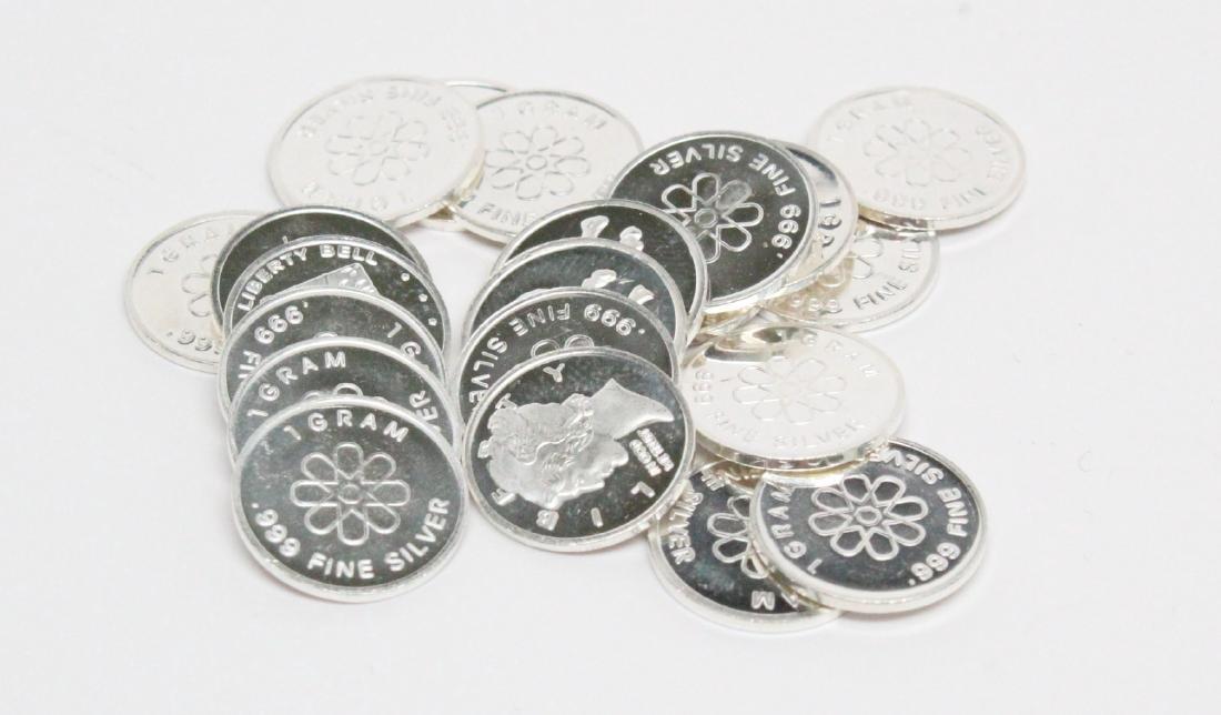 Lot of (21) 1 Gram .999 Fine Silver Art Rounds - 2