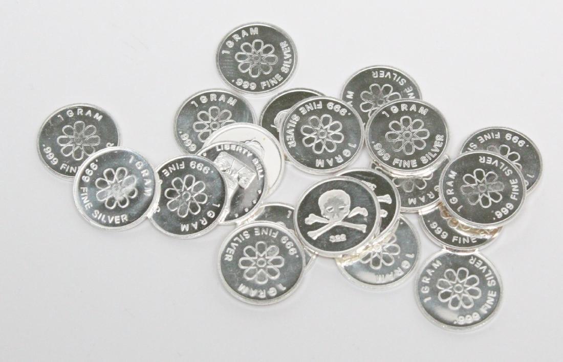 Lot of (21) 1 Gram .999 Fine Silver Art Rounds - 3