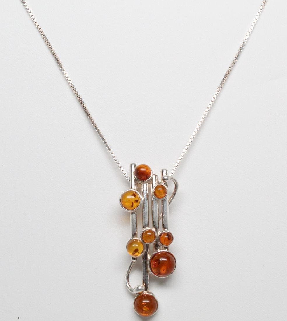 Sterling Silver & Baltic Amber Modernist Necklace