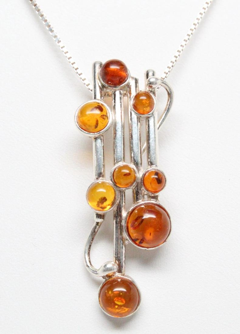 Sterling Silver & Baltic Amber Modernist Necklace - 2