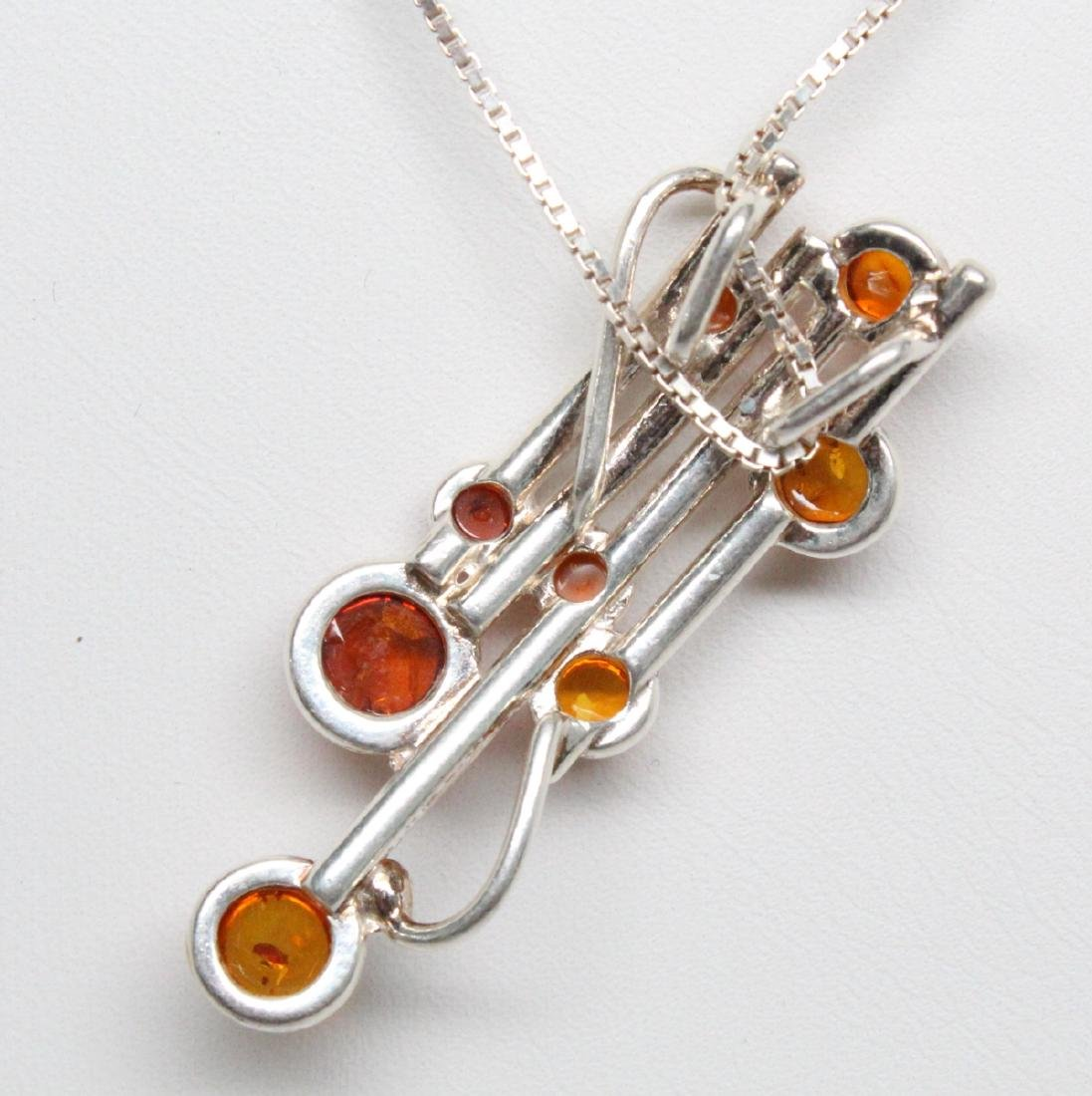 Sterling Silver & Baltic Amber Modernist Necklace - 3