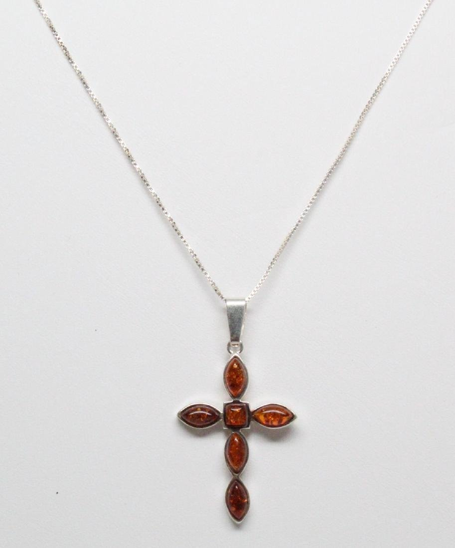Sterling Silver & Baltic Amber Cross Necklace