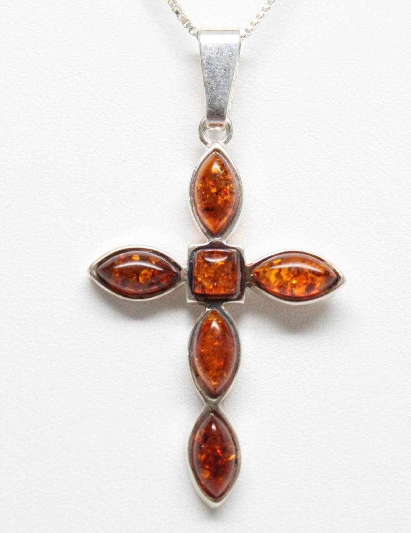 Sterling Silver & Baltic Amber Cross Necklace - 2