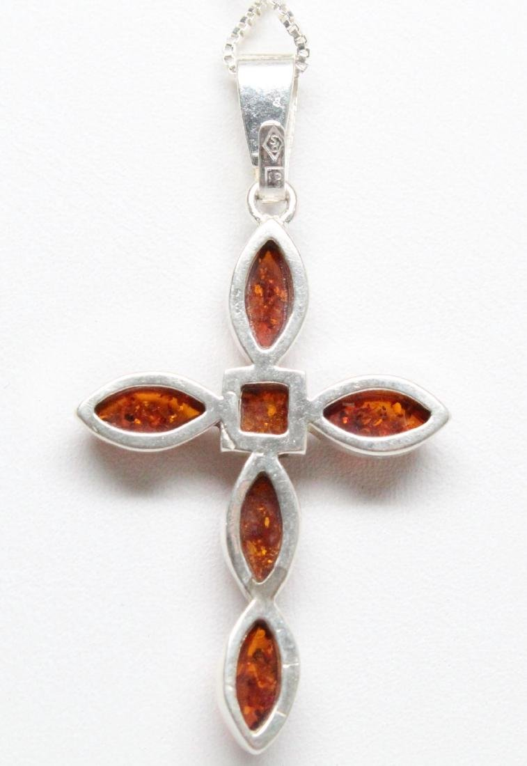 Sterling Silver & Baltic Amber Cross Necklace - 3