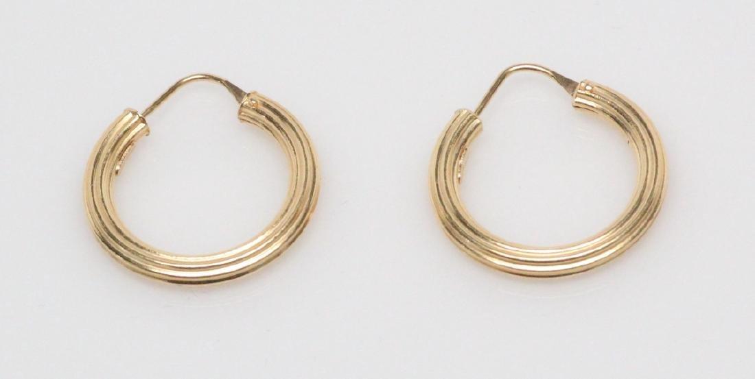 """Italian 18K Yellow Gold 0.75"""" Hoop Earrings"""