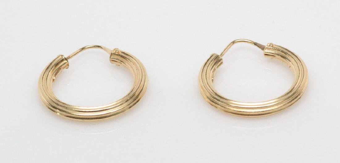 """Italian 18K Yellow Gold 0.75"""" Hoop Earrings - 2"""