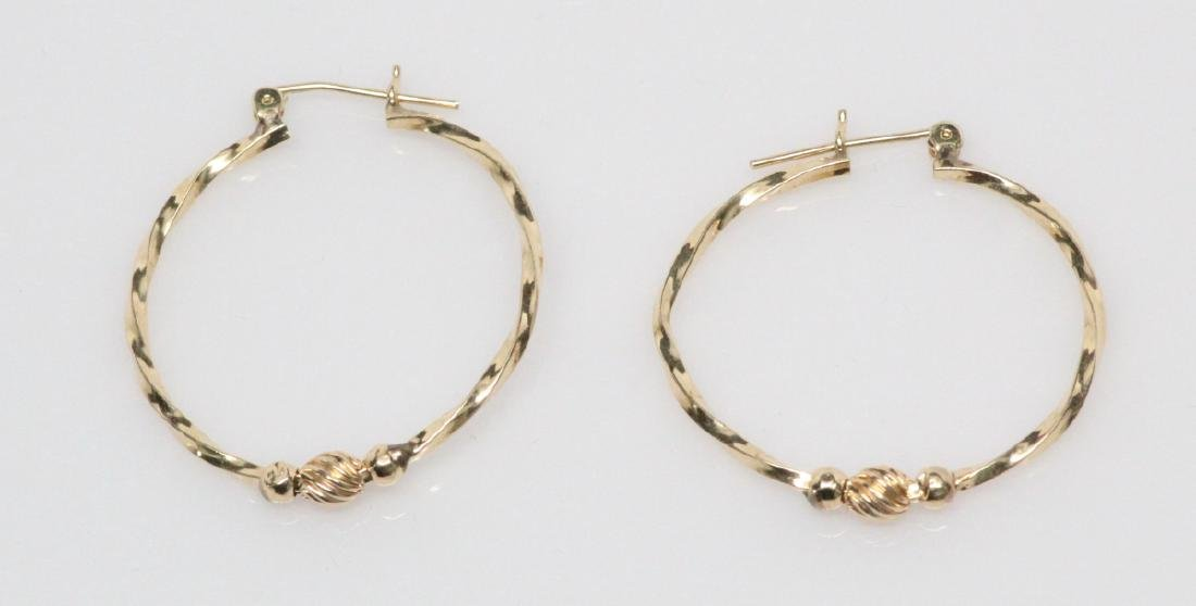 """Solid 14K Yellow Gold 1.25"""" Twisted Hoop Earrings"""