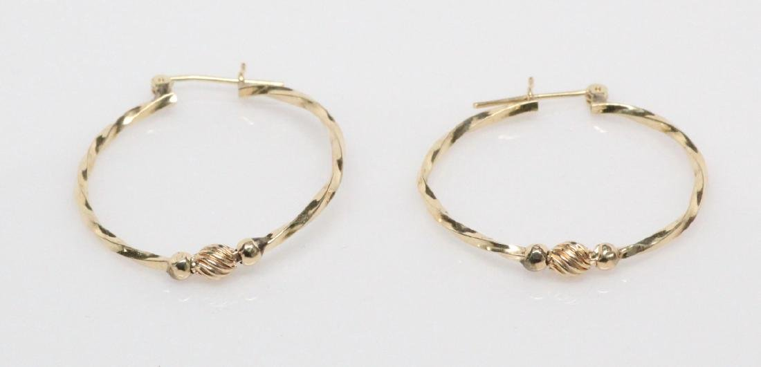 """Solid 14K Yellow Gold 1.25"""" Twisted Hoop Earrings - 2"""