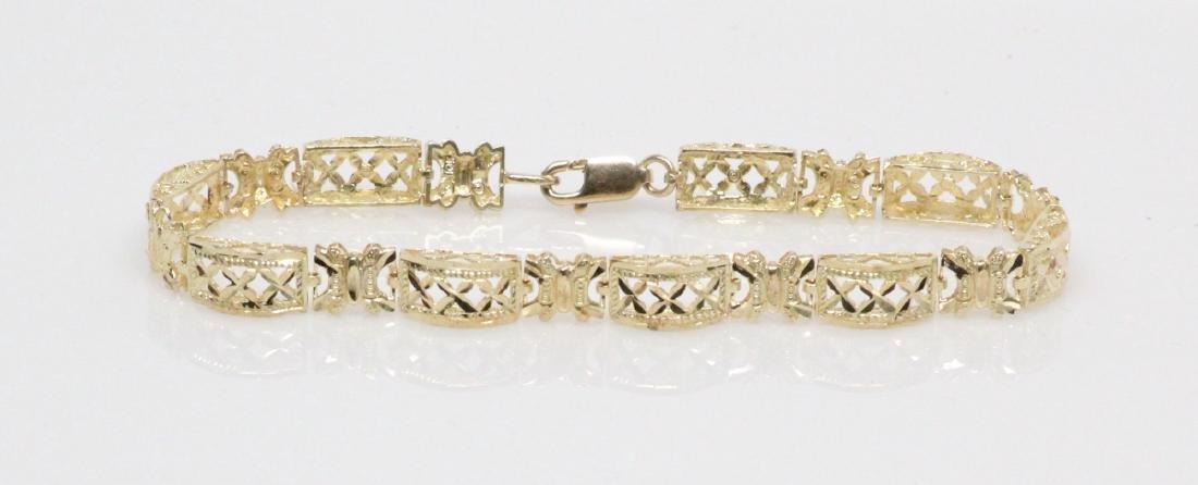 """Solid 10K Yellow Gold """"Domed Link"""" Bracelet - 2"""