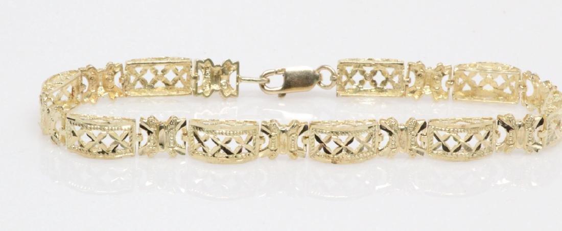 """Solid 10K Yellow Gold """"Domed Link"""" Bracelet - 3"""
