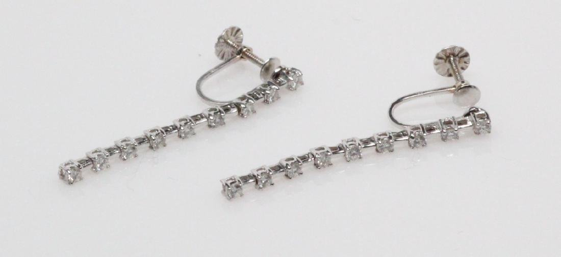 "0.55ctw Diam. & 14K White Gold 1.25"" Drop Earrings - 2"