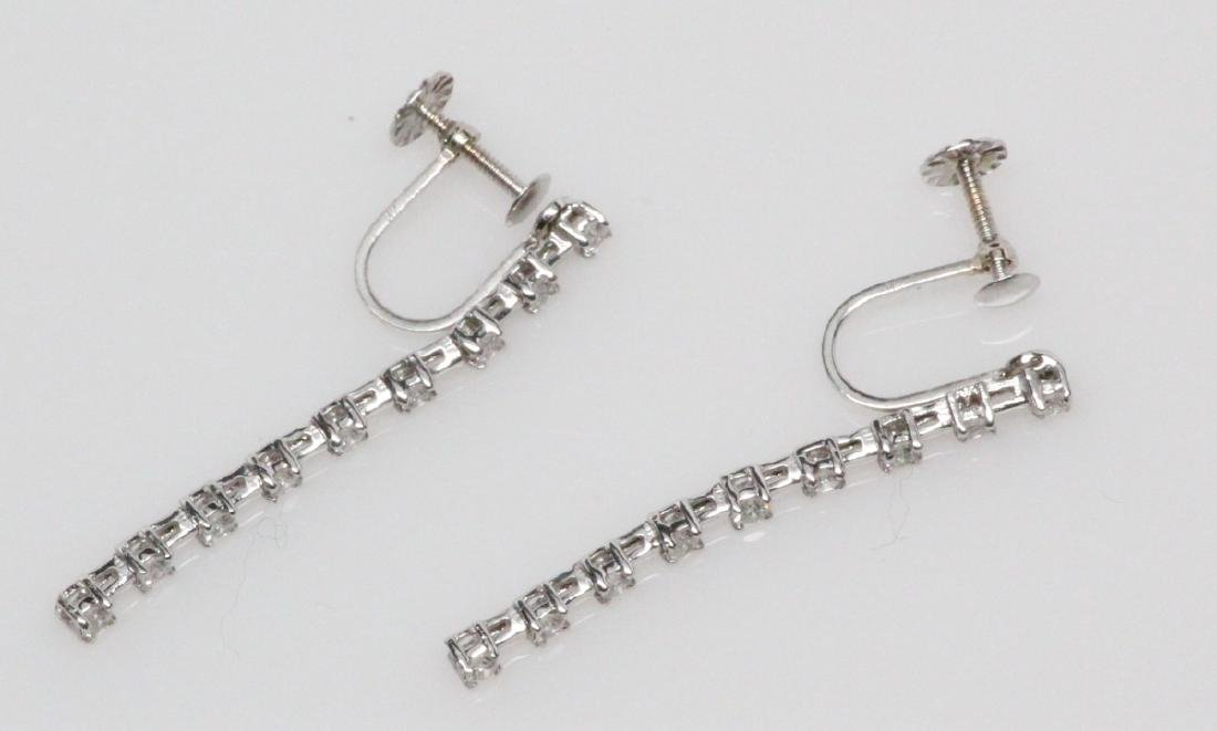 "0.55ctw Diam. & 14K White Gold 1.25"" Drop Earrings - 3"