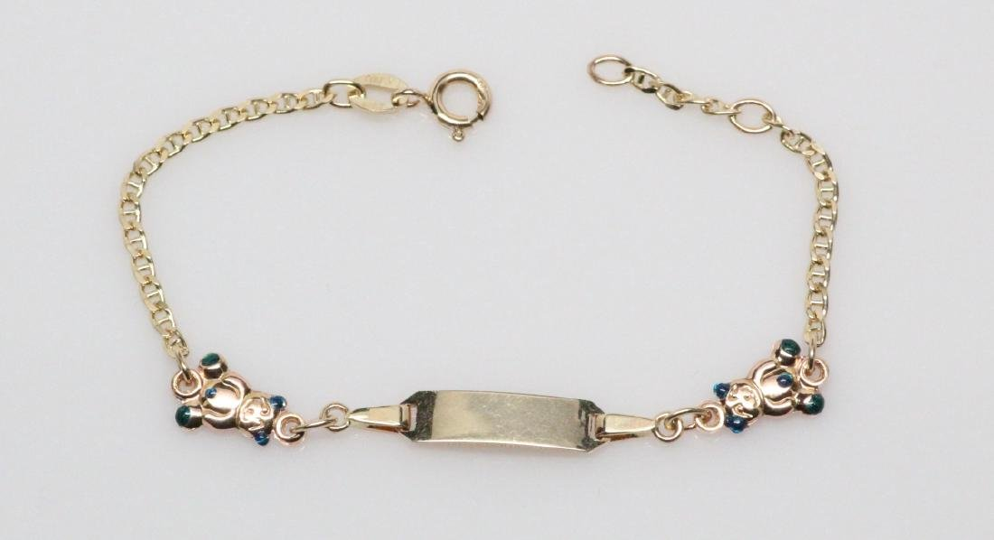 "14K Yellow Gold 6.25"" Child's Teddy Bear Bracelet"