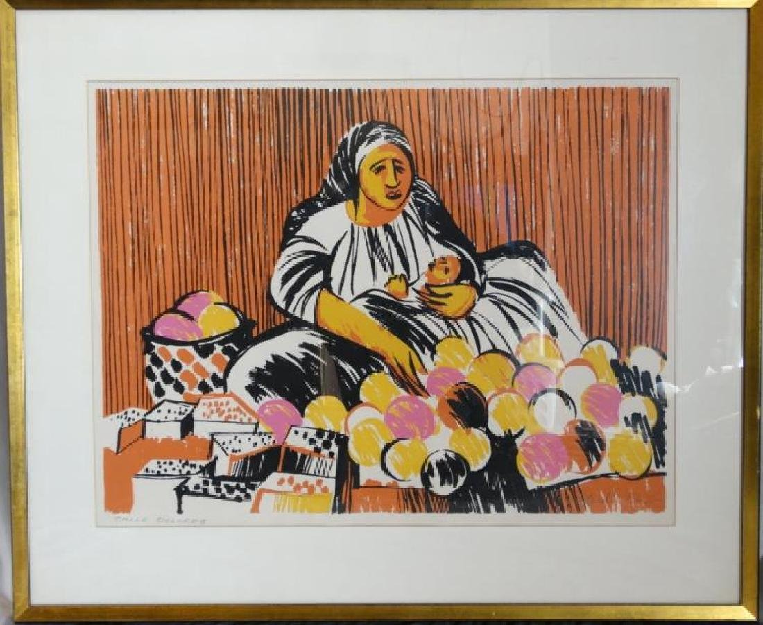 """Signed Litho Titled """"Calle Dolores"""" Merlin Dow"""