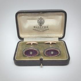Russian 56 Rose Gold,Enamel & Diamond Cufflinks