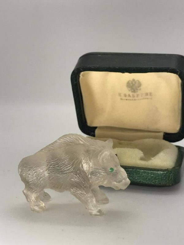 Faberge 102.19ct Quartz Boar W/Mine Diamond Eyes