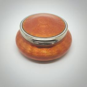 Faberge 84 Silver & Orange Guilloche Enamel Box