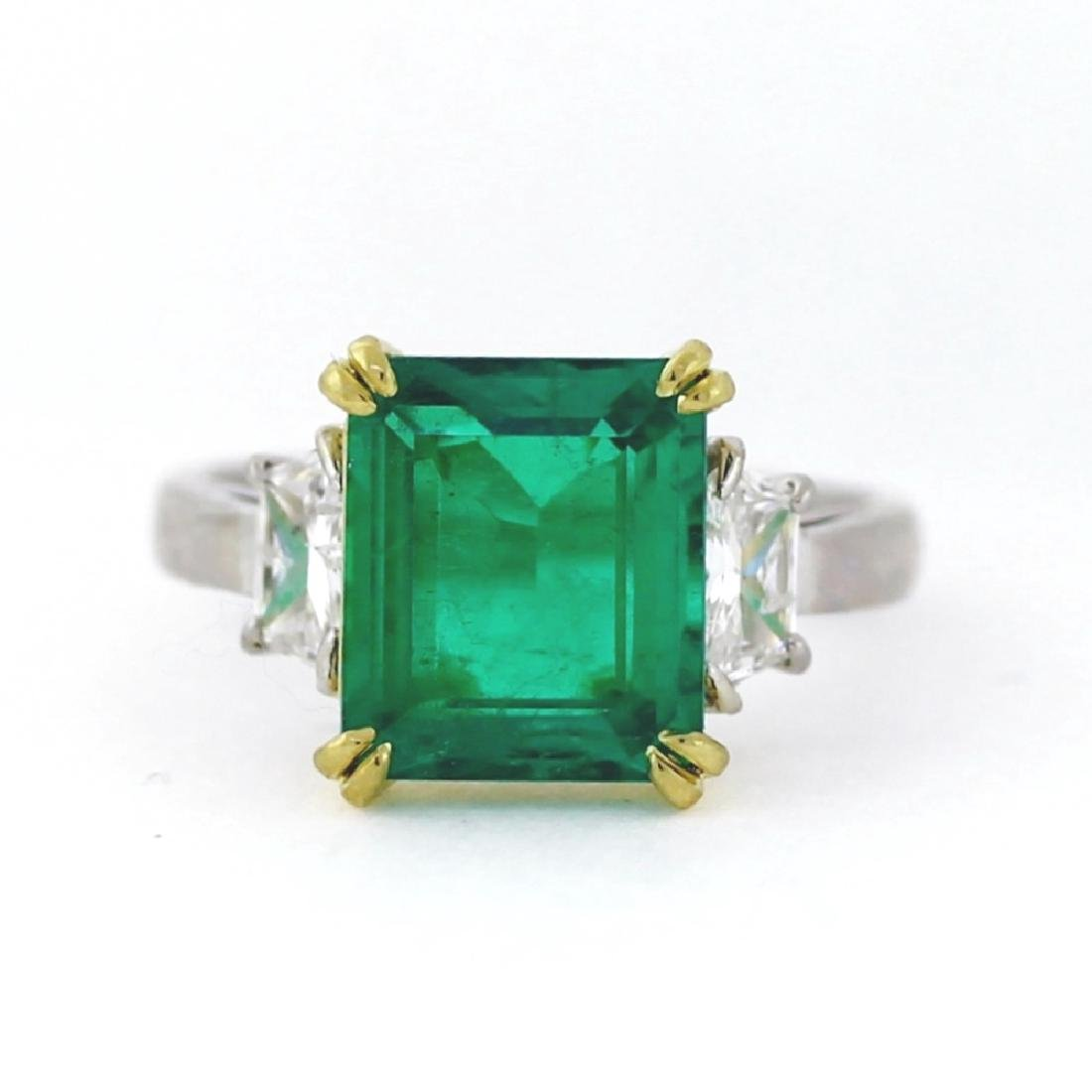 3.96ct Emerald, 0.65ctw Diam., Plat. & 18K Ring