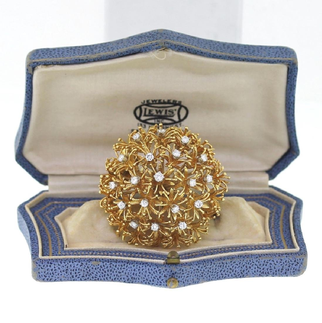 David Webb 1.70ctw Diamond & 18K Dandelion Brooch