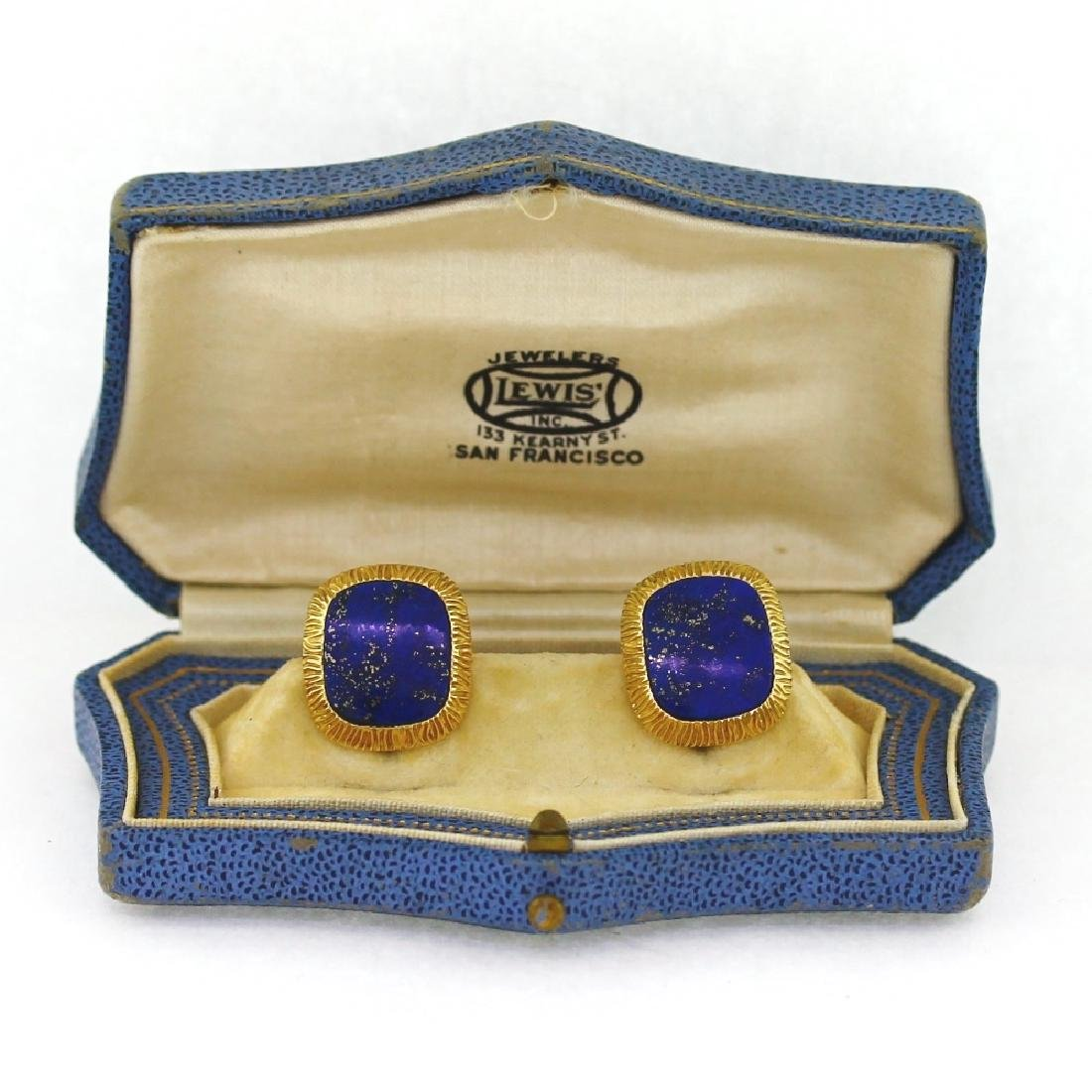 Tiffany & Co. Schlumberger 18K & Lapis Cufflinks