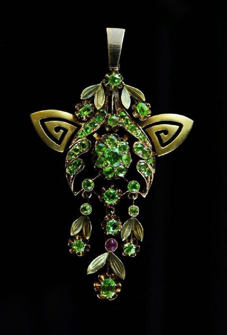 Imperial Ural Mountain Demantoid 56 Gold Pend.