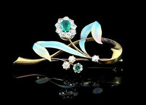 1890's 1.35ctw Diamond,Emerald 56 Gold Brooch