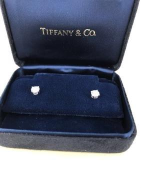 Tiffany & Co. VVS1/DDiamond & Plat. Studs W/Certs