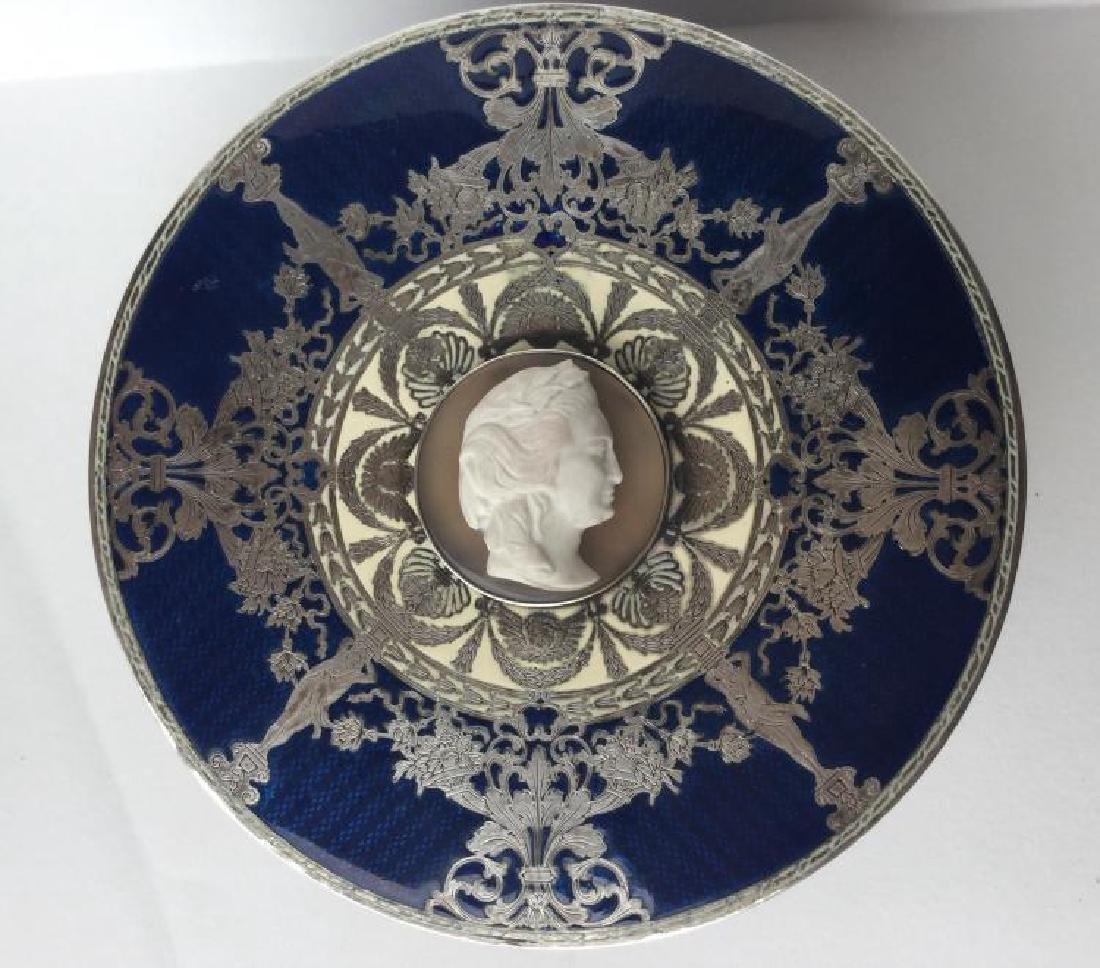 Karl Faberge 84 Silver Box W/Enamel & Cameo