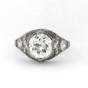 2.33ct GIA VS1/L Art Nouveau Platinum Ring