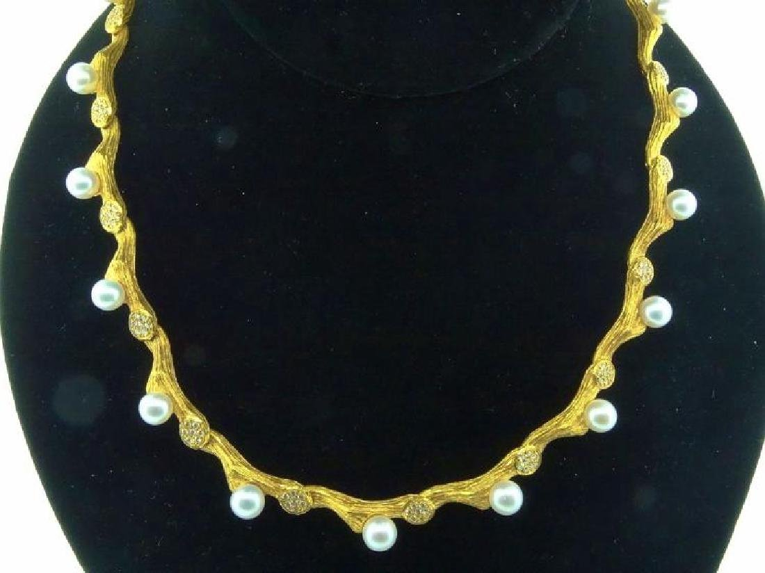 Mapamenos 1.33ctw Diamond, Pearl & 18K Necklace
