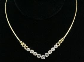 4.50ctw Bezel Set Diamond & 14K Omega Necklace