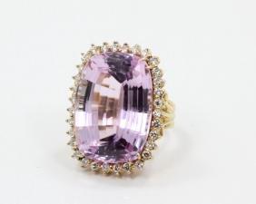 30ct Pink Kunzite, 1.00ctw Diamond & 14K Ring