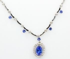 9.5ctw AAA Tanzanite, 3ctw Diamond & 14K Necklace